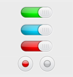 web buttons colored set of toggle switch butttons vector image