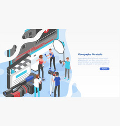 website template with group people shooting vector image