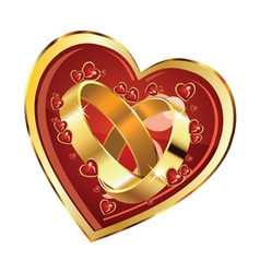 Wedding rings in heart vector