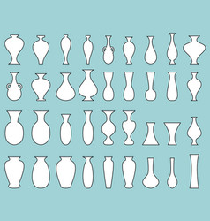 white silhouette vase set with black edge vector image