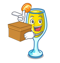 With box mimosa character cartoon style vector