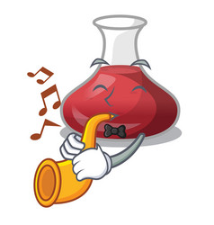 With trumpet wine decanter on the table cartoon vector