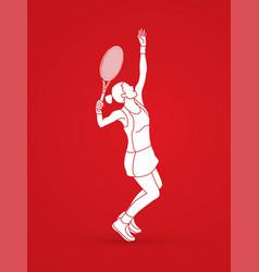 Woman tennis player sport action serve vector