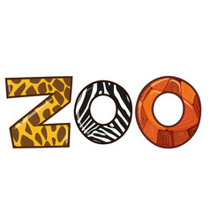 Word zoo with different animal skin texture vector