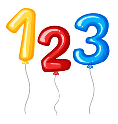 balloons for numbers one to three vector image vector image