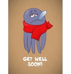 Cartoon octopus sick Bad feeling Wishing a vector image