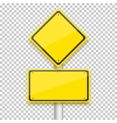 Road Yellow Sign Realistic EPS10 vector image vector image