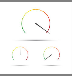 set of simple tachometers with indicators in red vector image vector image