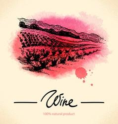 Watercolor hand drawn wine vintage background vector image vector image