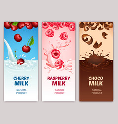 cartoon dairy products vertical banners vector image