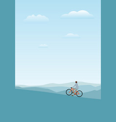 cycler on the mountains with vector image vector image