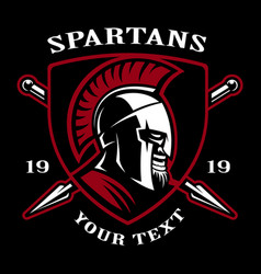 Emblem of spartan warrior vector