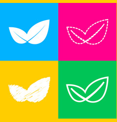 leaf sign four styles of icon on vector image vector image
