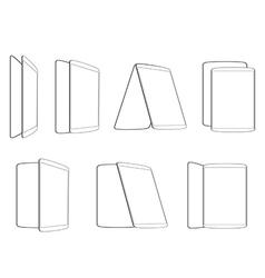 set contour tablet icons vector image