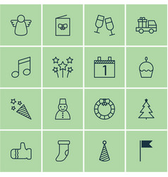 set of 16 happy new year icons includes champagne vector image