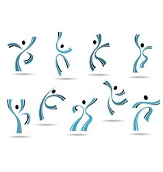 Set of stylized blue icons of dancing people vector image vector image