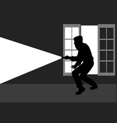 silhouette of a thief break into the house vector image vector image