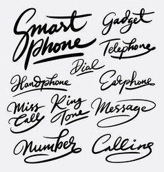 smartphone and gadget hand written typography vector image vector image