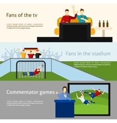 Soccer fans 2 flat banners set vector image vector image