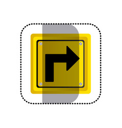Sticker yellow square frame turn right traffic vector