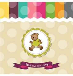 baby shower card with teddy bear toy vector image vector image