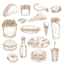 Fast food sketch icons meal snacks drinks vector