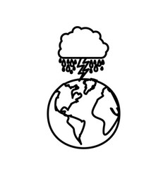 figure earth planet with cloud rainning and ray vector image