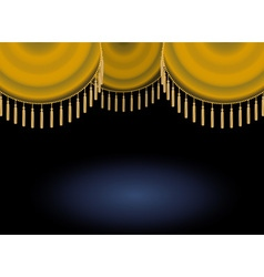 gold satin or velvet curtain with lace or thread vector image