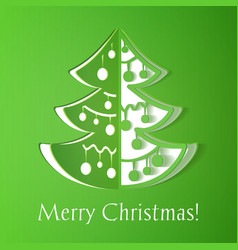 Green paper cut-out christmas tree vector image