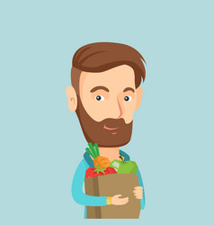 happy man holding grocery shopping bag vector image
