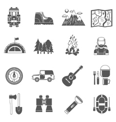 Tourism icons black vector