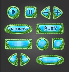 Cartoon pale blue buttons with leaves vector image