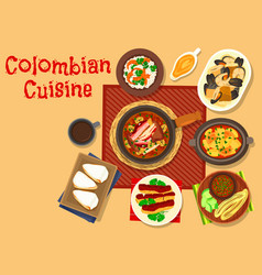 colombian cuisine dinner dishes icon design vector image vector image