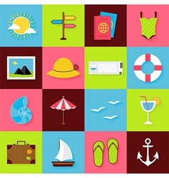 Flat Summer Travel Objects Set vector image