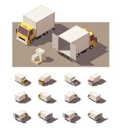 isometric box truck icon set vector image vector image