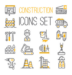 linear black yellow construction icons set vector image vector image