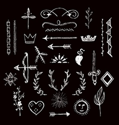 Various hand drawn design elements vector image