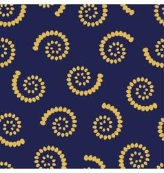 Yellow swirls on blue background seamless pattern vector image