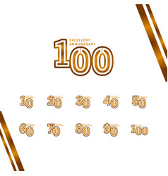 100 years excellent anniversary template design vector