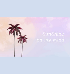 Aesthetic palm tree template for blog banner vector