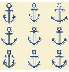 Anchors in blue colors Anchor symbols or logo vector image