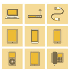 Assembly flat icon wi fi modem mobile phone gadget vector