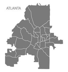 Atlanta georgia city map with neighborhoods grey vector