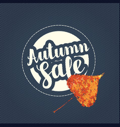 Autumn sale banner with patch on denim background vector