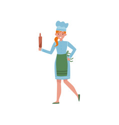 Baker with wooden rolling pin in hand young girl vector