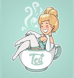 beautiful girl sit in tea cup vector image