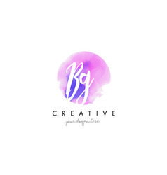 bg watercolor letter logo design with purple vector image