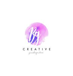 Bg watercolor letter logo design with purple vector