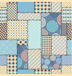 Blue retro patchwork vector