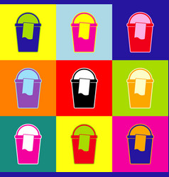 bucket and a rag sign pop-art style vector image